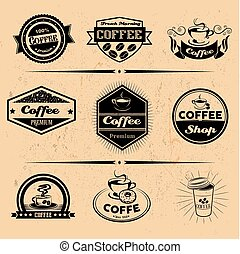 Vector set of coffee labels, design elements, emblems and badges. Isolated logo illustration in vintage style.
