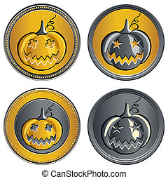 set of gold and silver coins on a Halloween pumpkin with the image