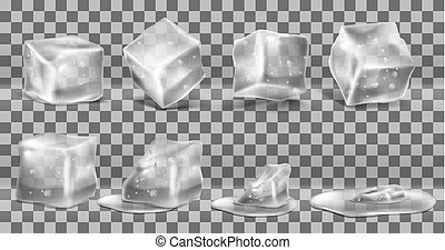 Vector set of cold solid ice cubes and melting
