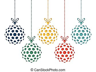 Vector set of color christmas balls drawn by dots. Template for laser cutting. Greeting card for new year celebration. Christmas card.