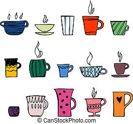 color cups of tea or coffee