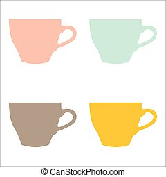 Vector set of color cups on white background