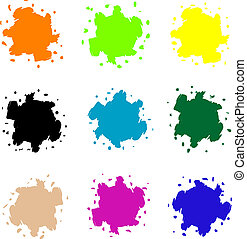 Vector set of colored blots