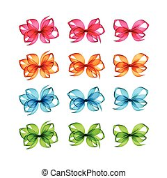 Orange Pink Light Blue Green Gift Bows of Different Shapes