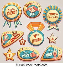 Vector set of colored brightly badges with hand gesture symbols
