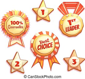 Vector set of colored brightly badges