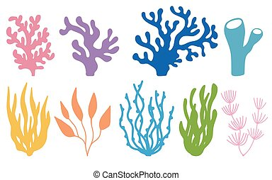 Vector set of colored corals and seaweeds silhouettes. Underwater coral reef and sea kelp in hand drawn doodle style. Marine aquarium plants illustration.