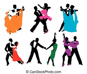 vector set of colored dancing couples.eps - vector set of...