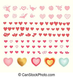 Vector set of colored hearts in different shapes and styles