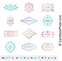 Vector set of colored hipster line emblems signs and symbols.eps