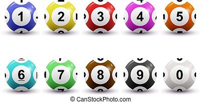 Vector set of colored numbered lottery balls for bingo game. Lotto keno concept. Bingo balls with numbers. Isolated on white background.