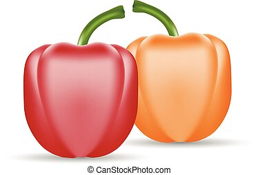 Vector Set Of Colored Yellow And Red Sweet Bulgarian Bell Peppers, Paprika Isolated On A White Background.