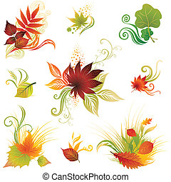 Vector set of colorful autumn lea