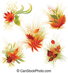 Vector set of colorful autumn leafs design elements. ...