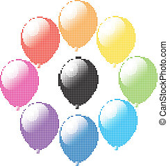 vector set of colorful balloons