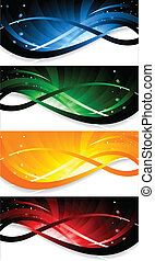 Vector set of colorful banner