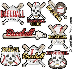 Vector set of colorful baseball club labels. Sport templates badges, emblems, logos with balls, bats, skulls. Isolated on white background
