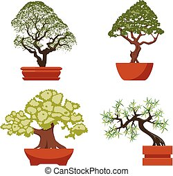 vector set of colorful bonsai trees in pots