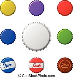 Vector set of colorful bottle caps. Isolated on white.