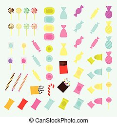 Vector set of colorful candies of various shapes in flat style.