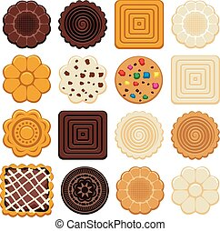 vector set of colorful chocolate and biscuit chip cookies