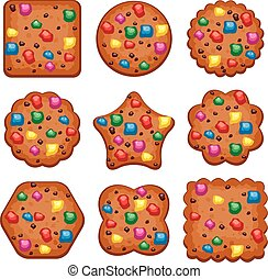 vector set of colorful chocolate chip cookies of different shapes