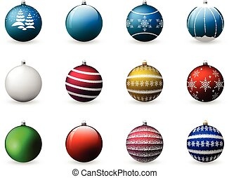 Vector set of colorful Christmas balls. Decoration for holiday design. Isolated on white background.