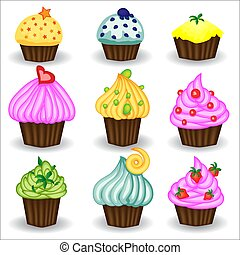 Vector set of colorful cupcakes. Cupcakes decorated with cherry, strawberry and chocolate. Cupcakes vector illustration