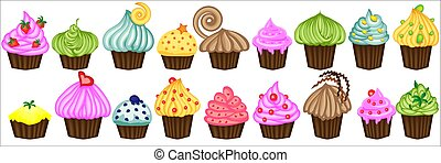 Vector set of colorful cupcakes. Cupcakes decorated with cherry, strawberry and chocolate. Cupcakes vector illustration.