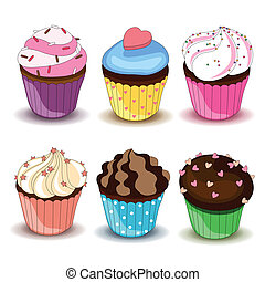 Vector set of colorful cupcales - Vector illustration of...