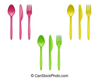 Vector set of colorful disposable tableware
