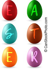 Vector set of colorful Easter eggs. Isolated on white background.