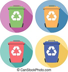 vector set of colorful flat recycling wheelie bin icons