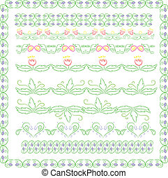 set of colorful floral borderd