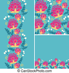 Vector set of colorful flowers seamless pattern and borders backgrounds