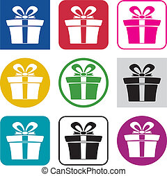 vector set of colorful gift box icons