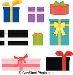 Vector set of colorful gift boxes.