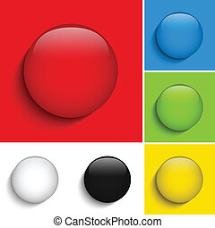 Set of Colorful Glass Circle Shiny Buttons
