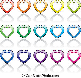 vector set of colorful heart symbols