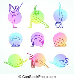 Vector set of colorful line figures in various yoga poses