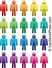 male symbols - vector set of colorful male symbols