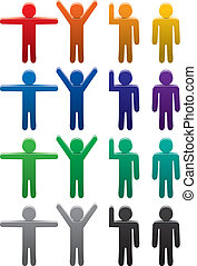 vector set of colorful man symbols in various poses