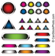 set of colorful metal buttons