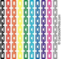 vector set of colorful metal chains