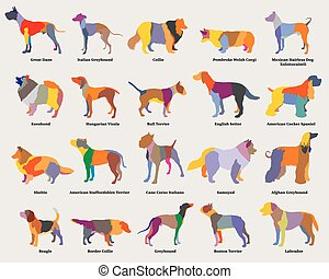 Vector set of colorful mosaic dogs silhouettes-2