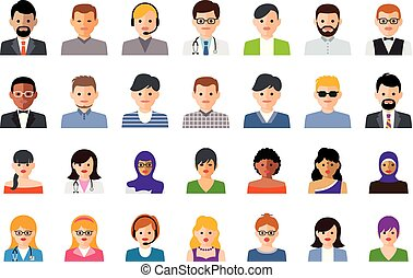 vector set of colorful people icons