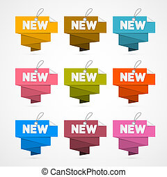 Vector Set of Colorful Retro Paper New Labels, Tags Isolated on White Background
