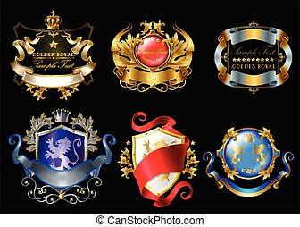 Vector set of colorful royal stickers or emblems