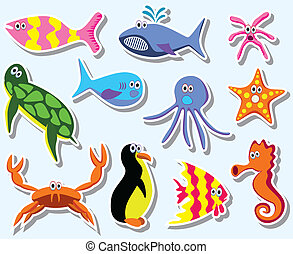 vector set of colorful sea animals