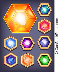 Vector set of colorful shiny jewels. icons colored diamonds